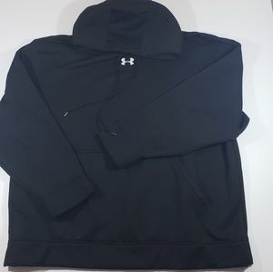Under Armour mens solid black white logo pull over